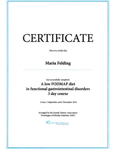 Certificeret i low FODMAP diæten til behandling af irritabel tyktarm af Foreningen af Kliniske Diætister 2014.